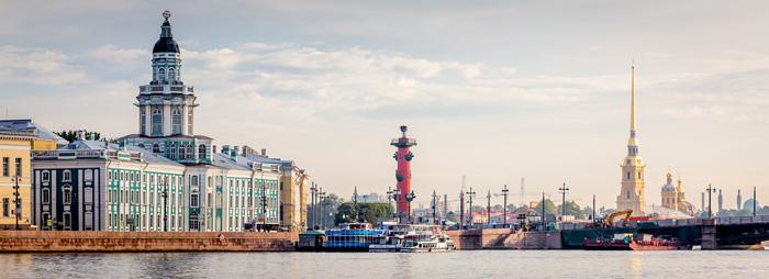 Панорама Петербурга с Кунсткамерой и стрелкой Васильевского острова